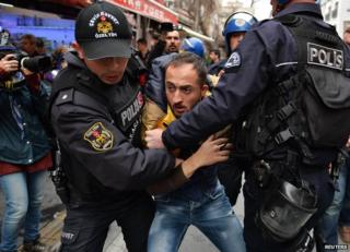 Turkish police arrest a protester in Ankara - file pic