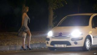 Prostitute solicits in the Bois de Boulogne in Paris (file pic)
