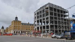 Building in progress on a new inn for Poundbury
