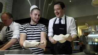Chancellor George Osborne on a visit to a Pizza Express outlet in Hove