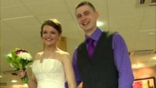 A couple getting married in Craigavon Civic Centre