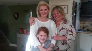 Lindsey Adderson with Ella Noon and her mother Andrea