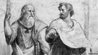 Greek philosopher Plato Aristocles (427 - 347 BC) with the philosopher and scientist Aristotle (384 - 322 BC)