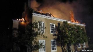 Oulton Hall on fire