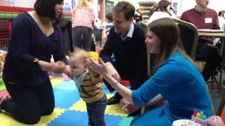 Nick Clegg and Jo Swinson at a soft play centre in East Dunbartonshire