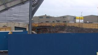 Windsor Park building work close up