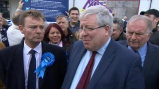 Craig Mackinlay, Patrick McLoughlin and Sir Roger Gale at Manston Airport