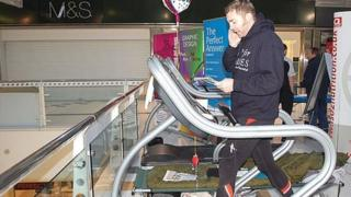 Mike Buss on a treadmill, January 2010, raising money for Help for Heroes