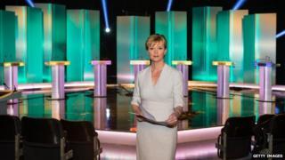 Julie Etchingham in ITV debate studio