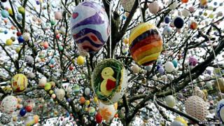Easter eggs hanging on a tree