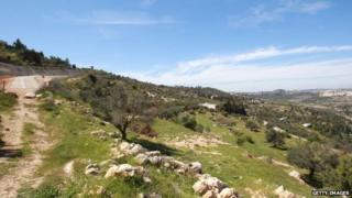 A general view shows the Crimesan landscape around the Christian village of the same name, near Bethlehem