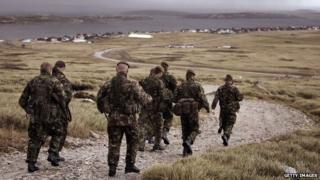Falklands Islands Defence Force soldiers prepare to go on a training exercise on Sapper Hill