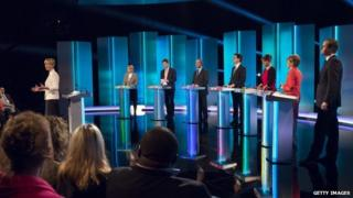 The seven party leaders during Thursday's debate