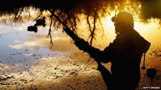 A duck hunter waiting, gun poised, in a lake
