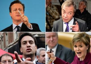 Composite image of David Cameron, Nigel Farage, Ed Miliband and Nicola Sturgeon