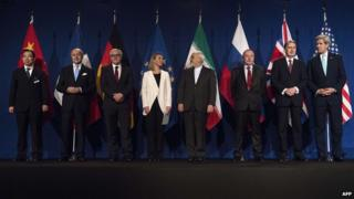 Chinese Hailong Wu, French Foreign Minister Laurent Fabius, German Foreign Minister Frank Walter Steinmeier, European Union High Representative Federica Mogherini, Iranian Foreign Minister Javad Zarifat, Russian Deputy Political Director Alexey Karpov, British Foreign Secretary Philip Hammond and US Secretary of State John Kerry in Lausanne