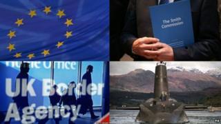 Collage: EU flag, Smith Commission, UK Border, Trident