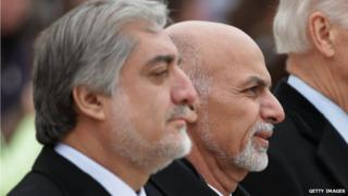 Afghanistan Chief Executive Abdullah Abdullah and Afghanistan President Ashraf Ghani on 24 March, 2015