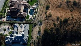 Aerial view overlooking landscaping in San Diego 4 April 2015