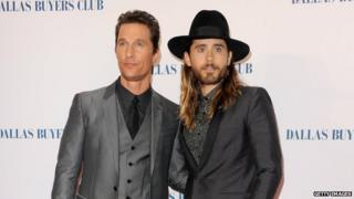 "Actors Matthew McConaughey and Jared Leto attend the ""Dallas Buyers Club"" UK premiere at the Curzon Mayfair on 29 January 2014 in London, England"