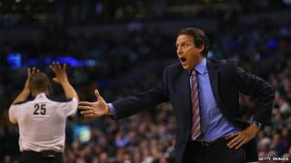 Quin Snyder of the Utah Jazz disputes a call during the third quarter against the Boston Celtics on 4 March 2015 in Boston, Massachusetts