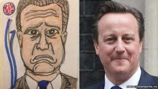 David Cameron drawing and photograph