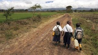 Children going to school in Tanzania