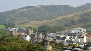 View of Scottish Parliament and Holyrood Palace from Calton Hill