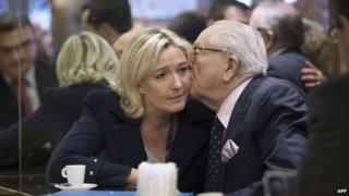 Jean-Marie Le Pen kissing his daughter Marine