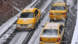 Taxis in the snow in Istanbul