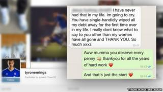 Tyrone Mings' mother thanks him in a text message for wiping away all her debts