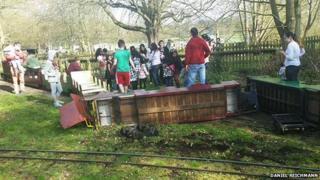 Miniature train crash at Cassiobury Park, Watford