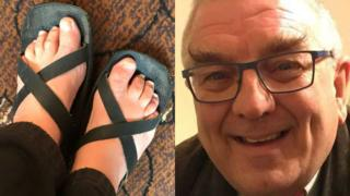 Composite of Mr Dotchin's feet and his face