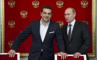 Russian President Vladimir Putin, right, and Greek Prime Minister Alexis Tsipras in Moscow on 8 April 2015