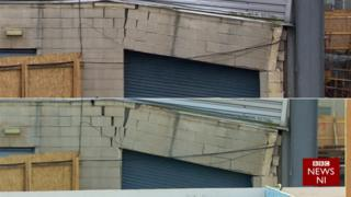 A comparison of the cracks in the damaged West Stand at Windsor Park, compared to last week