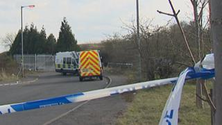 Police at the scene on Dale Avenue, Cambuslang