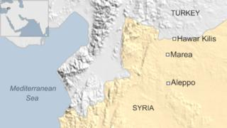 Map showing location of Marea and Hawar Kilis, Syria