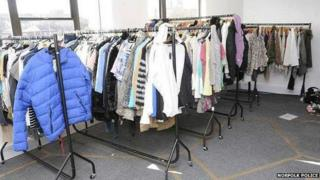 Racks of clothing shoplifted by Caroline Carriage