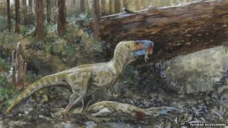 Illustration of Daspletosaurus eating