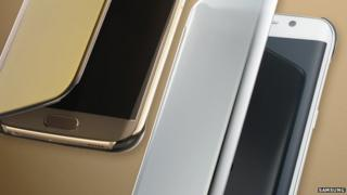 Two Samsung S6 Edge phones showing the wrap around curved screen