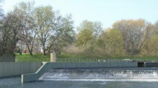 Artist's impression of Shrewsbury hydro scheme