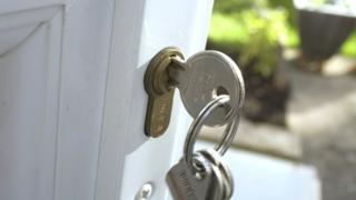 House keys in a door