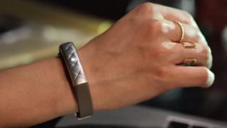 Jawbone tracker on wrist