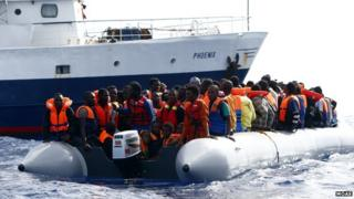 MOAS rescues migrants with the Phoenix in the Mediterranean