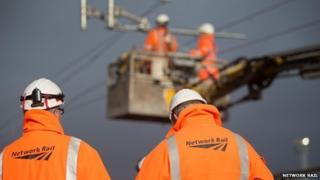 Network Rail engineers working on re-signalling in Watford