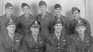 Four of the men in First Lieutenant Robert Vieille's crew died (Front row, far left and second from left, Robert Vieille and Collins Liersch. Back row, second from right and far right, Earnest Gallion and Chester Smalczewski)