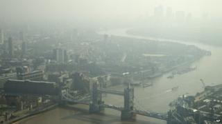 A haze over London on 10 April 2015