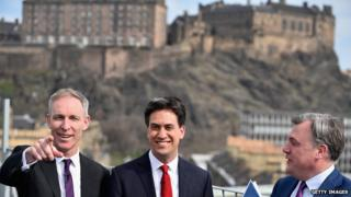 Jim Murphy, Ed Miliband and Ed Balls in Edinburgh (pictured left to right)
