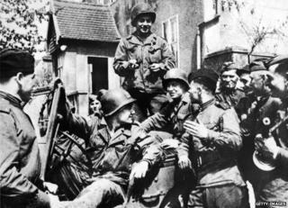 US-Soviet meeting at Torgau, 1945