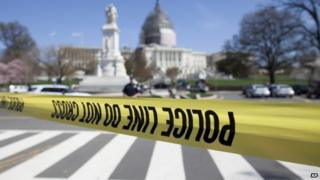 The Washington Capitol in lockdown after a shooting incident, 11 April 2015